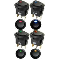 Interruptor basculante redondo (Rocker) con led 12v