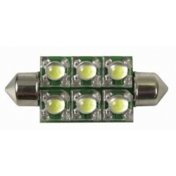Festoon 6 LED Piraña Superflux 42mm