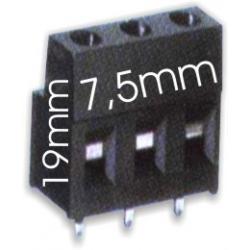 Borna 3Pin 19mmx7.5 negro